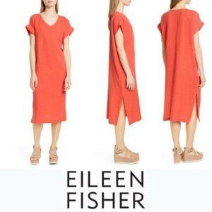 Eileen Fisher 100% organic cotton dress NWOT coral